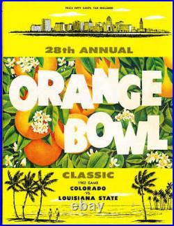 1962 Orange Bowl football Program Colorado vs LSU