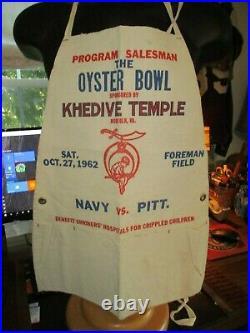 1962 Oyster Bowl Football Program Seller Apron Norfolk Foreman Field NAVY PITT