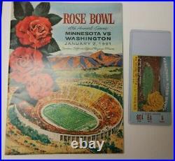 1962 ROSE BOWL NCAA FOOTBALL PROGRAM UCLA VS. MINNESOTA RARE With GAME TICKET