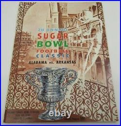 1962 Sugar Bowl Program Alabama v Arkansas Bear Bryant 1st National Champ Ex/MT