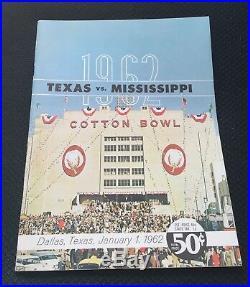 1962 Texas Mississippi Cotton Bowl Football Program Longhorns Rebels Ex/near Mt