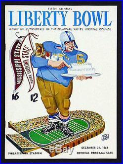 1963 Liberty Bowl RARE Mississippi State v North Carolina Football Program