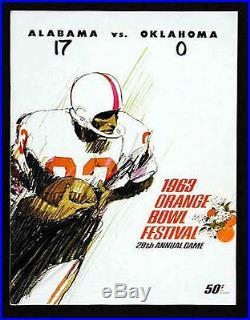 1963 Orange Bowl RARE Alabama Oklahoma Football Program Joe Namath Rookie