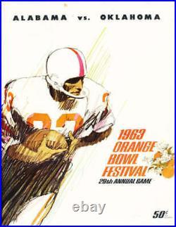 1963 Orange Bowl football Program Alabama vs Oklahoma Joe Namath