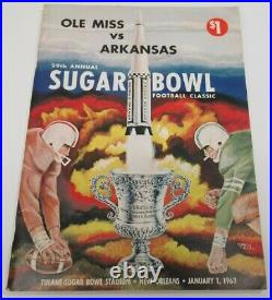 1963 Sugar Bowl Program Arkansas v Ole Miss Rebels National Champs Ex/MT 68580
