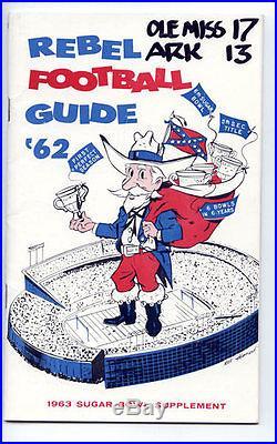 1963 Sugar Bowl RARE Ole Miss Arkansas Media Guide NCAA Football program