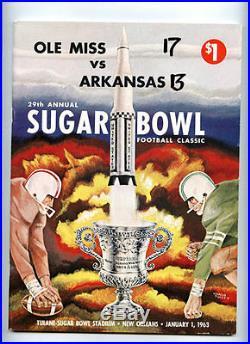 1963 Sugar Bowl RARE Ole Miss v Arkansas Football Program Glynn Griffing