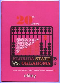 1965 Gator Bowl RARE Florida St Oklahoma Football Program Fred Biletnikoff