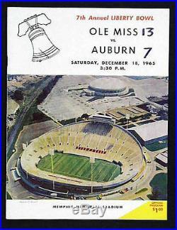 1965 Liberty Bowl RARE Ole Miss Rebels Auburn Tigers Football Program VTG