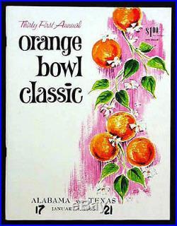 1965 Orange Bowl RARE Texas Alabama Football Program Joe Namath Bear Bryant