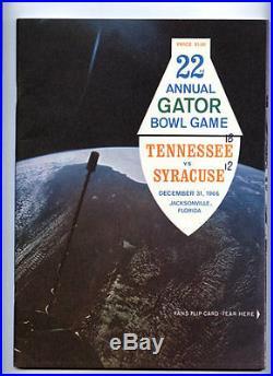 1966 Gator Bowl RARE Tennessee Syracuse Football Program Floyd Little MVP