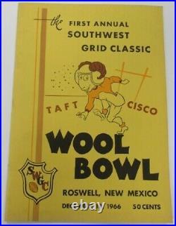 1966 Wool Bowl Program Inaugural Game Taft v Cisco 12/10 Roswell NM Ex/MT 68844