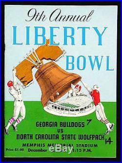 1967 Liberty Bowl RARE NC State v Georgia Football Program North Carolina
