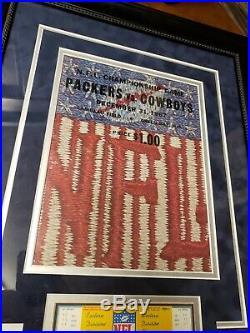 1967 NFL Championship Ice Bowl Program Green Bay Packers Dallas Cowboys Framed