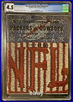 1967 NFL Football Vtg Ice Bowl Game Program Green Bay Packers Dallas Cowboys CGC