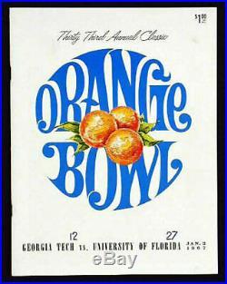 1967 Orange Bowl RARE Florida Georgia Tech Football Program Steve Spurrier