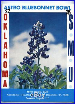 1968 Bluebonnet Bowl SCARCE SMU Oklahoma Sooners Football Program VTG Astrodome