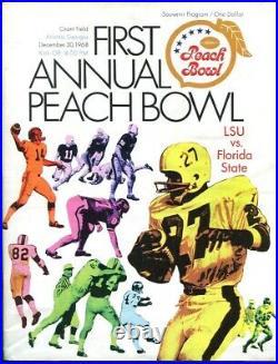 1968 Peach Bowl Program LSU Tigers v Florida State Inaugural Game Ex+ 68796