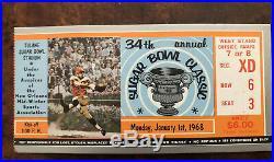 1968 SUGAR BOWL LSU 20 vs Unbeaten WYOMING 13, Ticket Stub & Program! Stokely