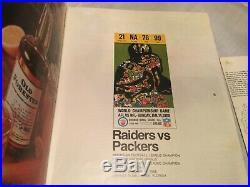1968 SUPER BOWL II AFL-NFL CHAMPIOSHIP PROGRAM & TICKET STUB Packers Raiders