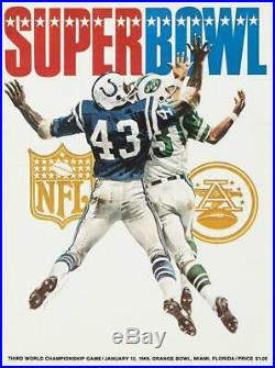 1969 Jets vs Colts 36 x 48 Canvas Super Bowl III Program Fanatics