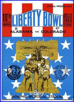 1969 Liberty Bowl RARE Colorado v Alabama Football Program VTG Bear Bryant
