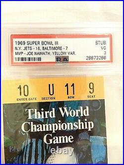 1969 SUPER BOWL 3 BALTIMORE COLTS vs NEW YORK JETS ticket stub WithBONUS PROGRAM