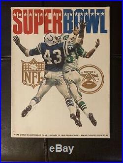 1969 Super Bowl III Program Baltimore Colts vs New York Jets nr-mt Namath, Shula