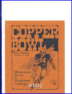 1970 11/14 Copper Bowl football program Montana Tech vs Yankton College