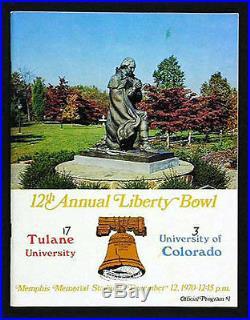 1970 Liberty Bowl RARE Tulane Colorado Football Program Green Wave v Buffs