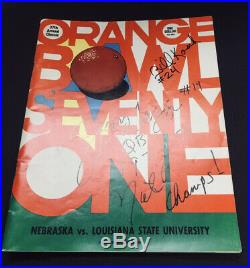 1971 Orange Bowl Program Nebraska LSU Signed By Jerry Tagge & Bill Kosch. ExCond