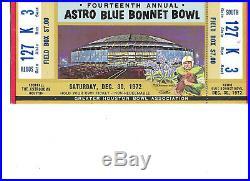 1972 Blue Bonnet Bowl Football Ticket Stub Tennessee vs LSU Full Ticket
