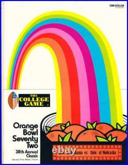 1972 Orange Bowl football Program Alabama vs Nebraska