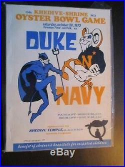 1972 Oyster Bowl Football Program Norfolk Virginia Foreman Field Duke vs Navy