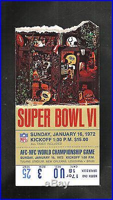 1972 Super Bowl (6) Program & Ticket Miami Dolphins Vs Dallas Cowboys 1st Sb Win