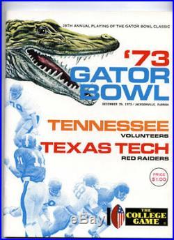 1973 Gator Bowl RARE Texas Tech Tennessee Football Program Red Raiders Vols