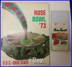 1973 Rose Bowl Ncaa Football Program Usc Vs. Ohio State Rare 1/1/73 With Ticket