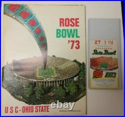 1973 Rose Bowl Ncaa Football Program Usc Vs. Ohio State Rare 1/1/73 With Ticket