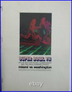 1973 Super Bowl VII Game Program Dolphins vs. Redskins 141533
