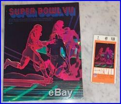 1973 Super Bowl VII Ticket Signed NFL MVP Larry Brown Near Mint Program Dolphins
