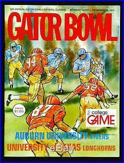 1974 Gator Bowl RARE Auburn v Texas Football Program vtg Earl Campbell MVP