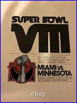 1974 MIAMI DOLPHINS Minnesota VIKINGS Super Bowl VIII Program TARKENTON Csonka
