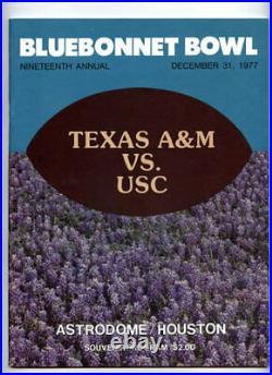 1977 Bluebonnet Bowl RARE USC Trojans Texas AM Football Program Astrodome