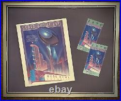1983 Super Bowl XVII Used Tickets And Program Framed