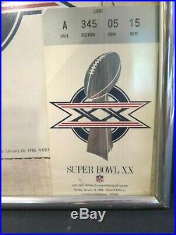 1986 Super Bowl XX CHICAGO Bears NEW ENGLAND Patriots Ticket STUB PROGRAM COVER