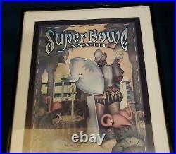 1999 Broncos vs Falcons 29x41 Framed super Bowl XXXIII Program