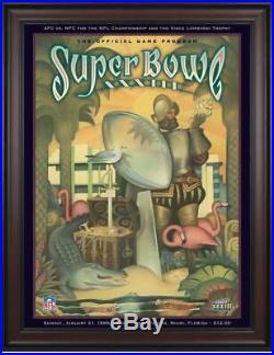 1999 Broncos vs Falcons Framed 36x48 Canvas Super Bowl XXXIII Program Fanatics