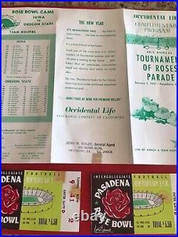 (2) 1957 IOWA vs OREGON STATE ROSE BOWL TICKET STUB FOOTBALL & Special Program
