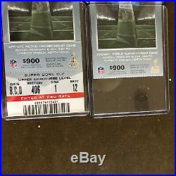 2 2011 Super Bowl XLV tickets Packers vs Pittsburgh Steelers Program & Bagtag