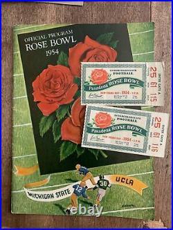 2 VTG 1954 ROSE BOWL FOOTBALL TICKETS & Program UCLA vs MICHIGAN STATE